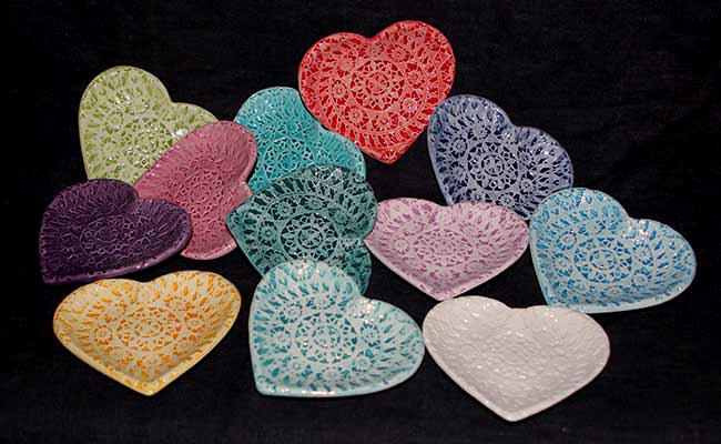 lace dish heart