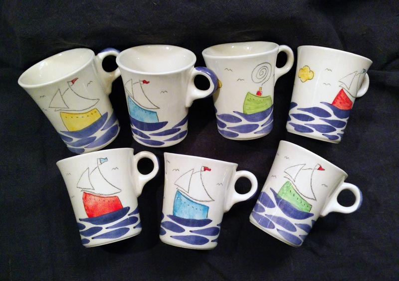 big ceramic mugs sailing ships