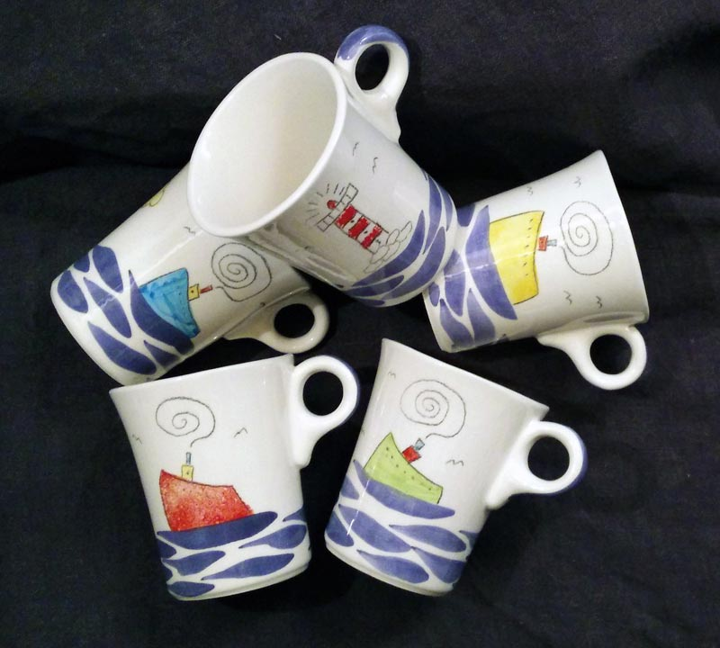 big ceramic mugs ship lighthouse