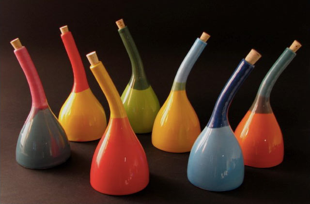 Colorful curved neck bottles