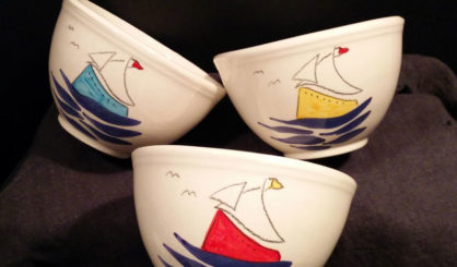 ceramic bowls sailing ship