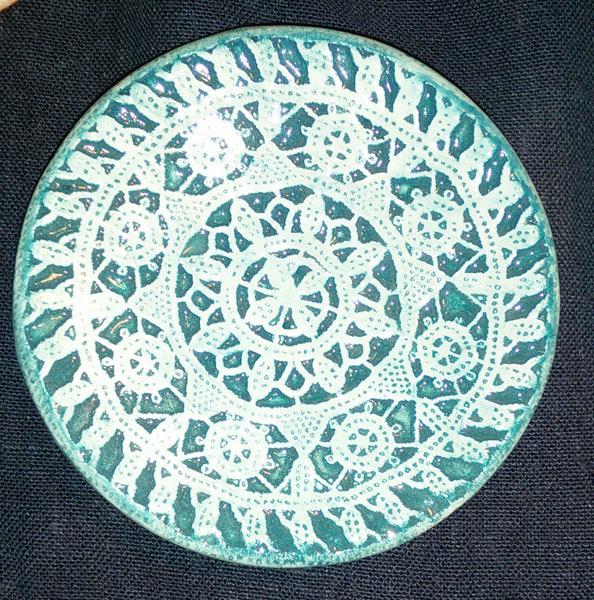 lace dish blue