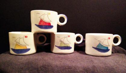 small ceramic mugs sailing ships 2