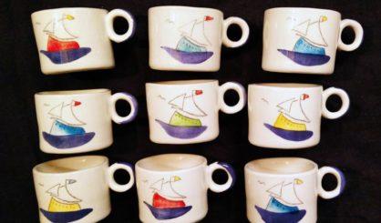 small ceramic mugs sailing ships